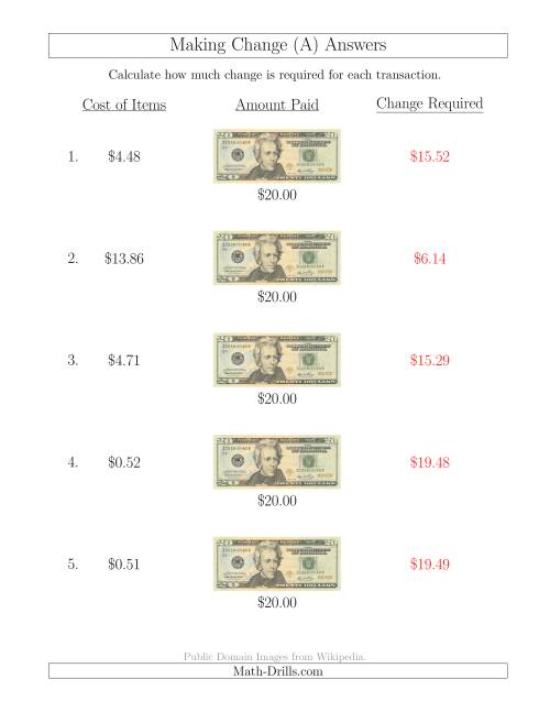 The Making Change from U.S. $20 Bills (A) Math Worksheet Page 2
