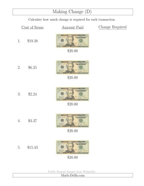 The Making Change from U.S. $20 Bills (D) Math Worksheet