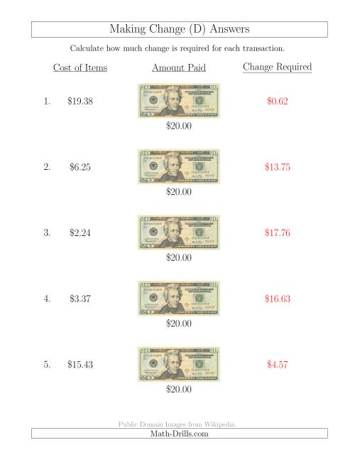The Making Change from U.S. $20 Bills (D) Math Worksheet Page 2