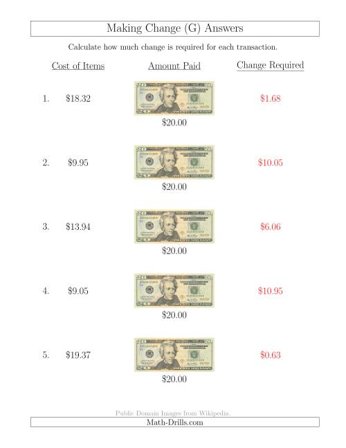 The Making Change from U.S. $20 Bills (G) Math Worksheet Page 2