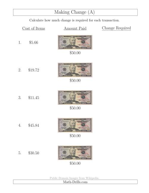The Making Change from U.S. $50 Bills (A) Math Worksheet