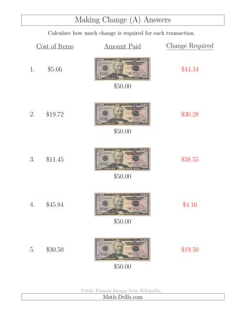 The Making Change from U.S. $50 Bills (A) Math Worksheet Page 2