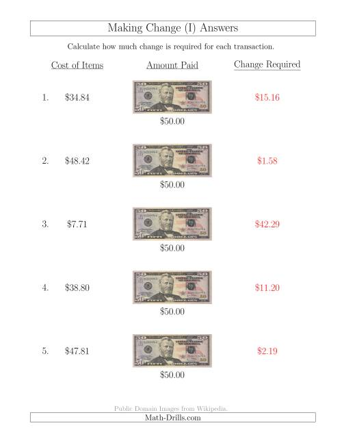 The Making Change from U.S. $50 Bills (I) Math Worksheet Page 2