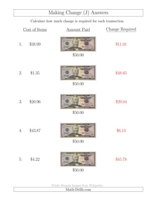 The Making Change from U.S. $50 Bills (J) Math Worksheet Page 2
