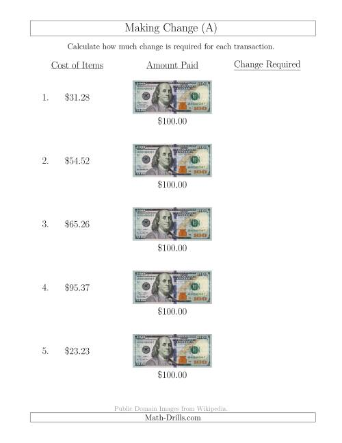 Making Change from U.S. $100 Bills (A) Money Worksheet