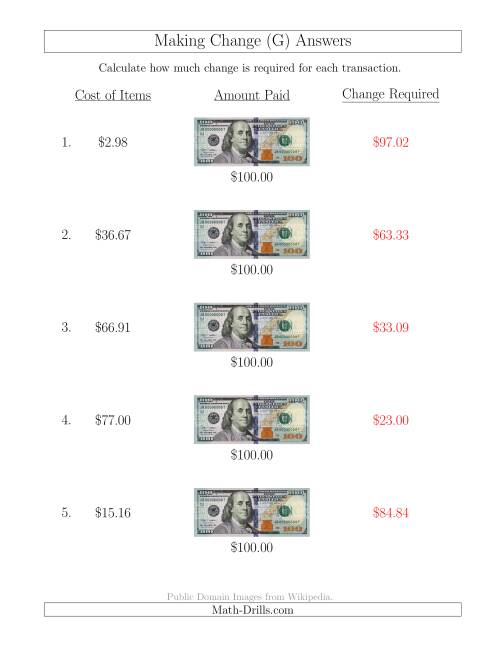 The Making Change from U.S. $100 Bills (G) Math Worksheet Page 2