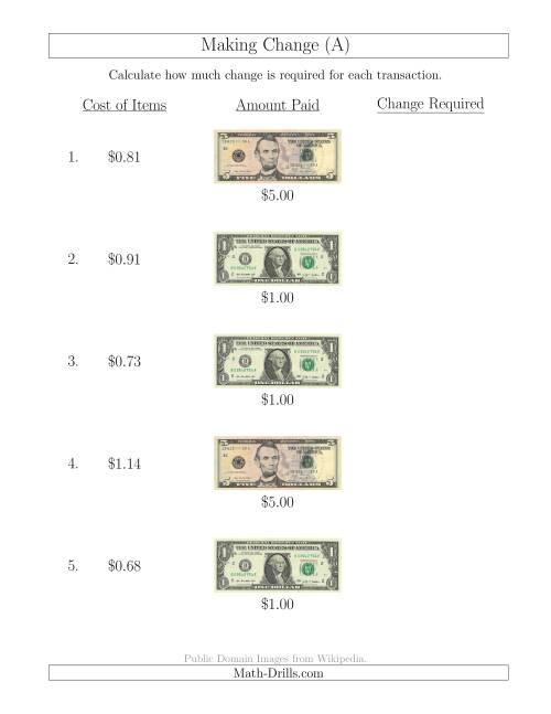 math worksheet : making change from u s bills up to $5 a money worksheet : Making Math Worksheets