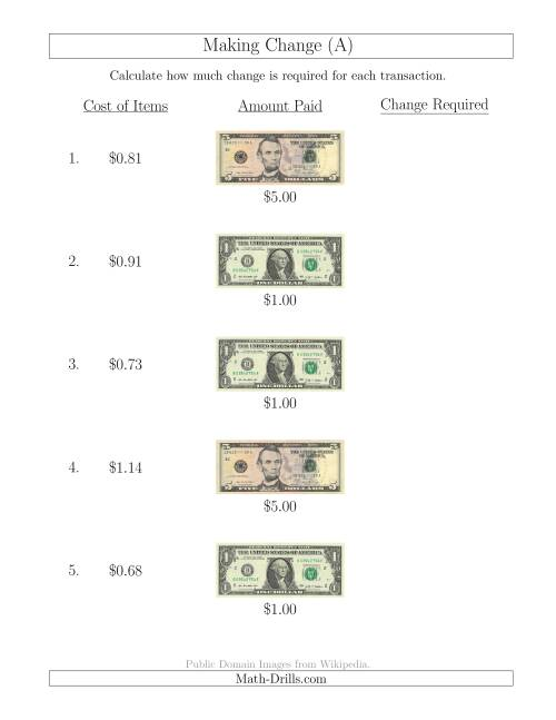 The Making Change from U.S. Bills up to $5 (A) Math Worksheet