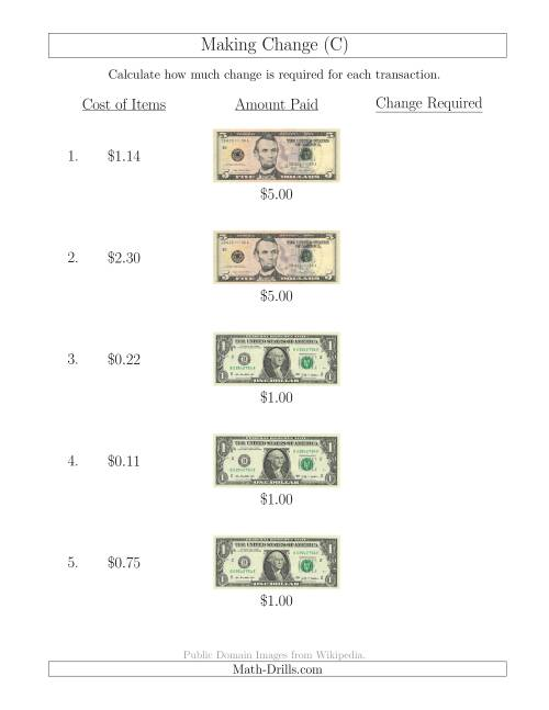 The Making Change from U.S. Bills up to $5 (C) Math Worksheet