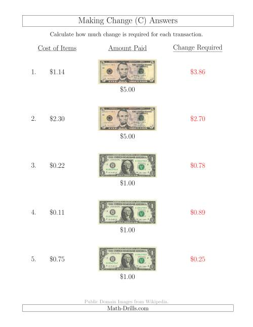 The Making Change from U.S. Bills up to $5 (C) Math Worksheet Page 2