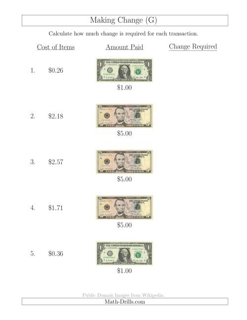 The Making Change from U.S. Bills up to $5 (G) Math Worksheet