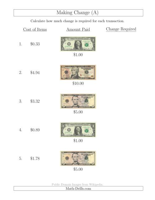 The Making Change from U.S. Bills up to $10 (A) Math Worksheet
