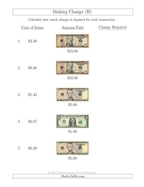 The Making Change from U.S. Bills up to $10 (B) Math Worksheet