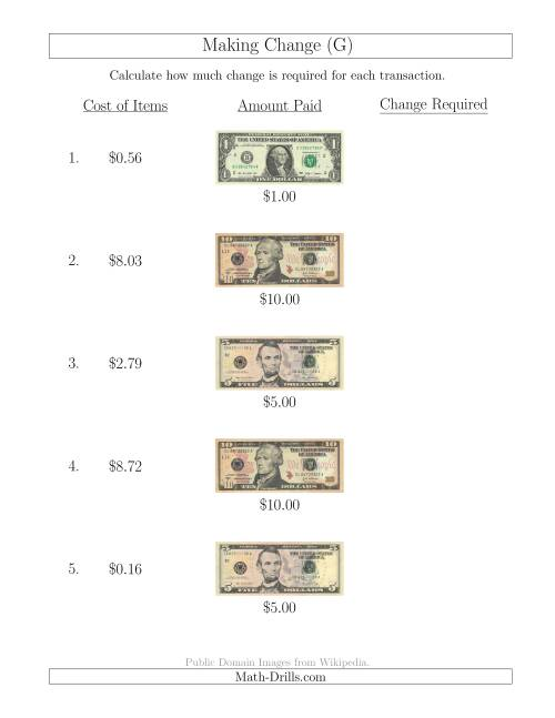 The Making Change from U.S. Bills up to $10 (G) Math Worksheet