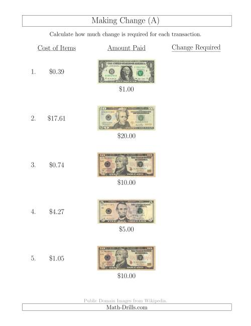 The Making Change from U.S. Bills up to $20 (A) Math Worksheet