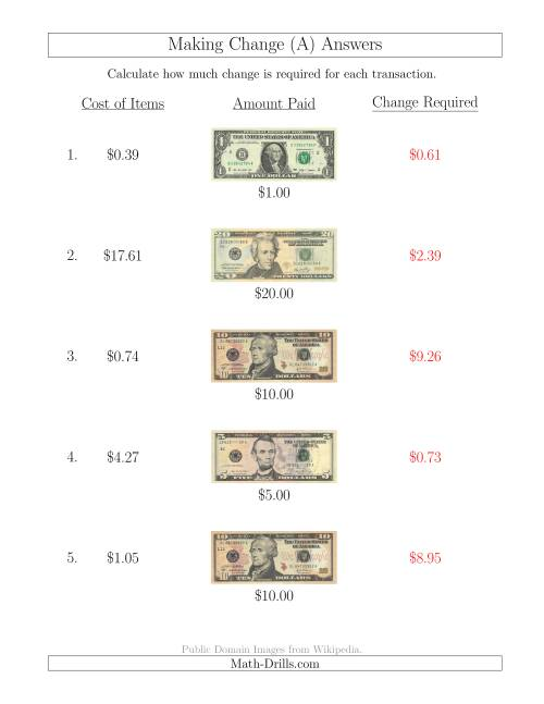 The Making Change from U.S. Bills up to $20 (A) Math Worksheet Page 2
