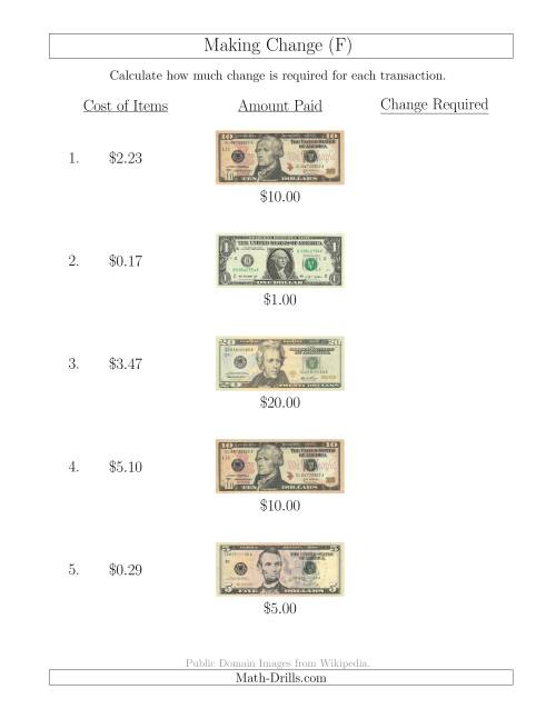 The Making Change from U.S. Bills up to $20 (F) Math Worksheet