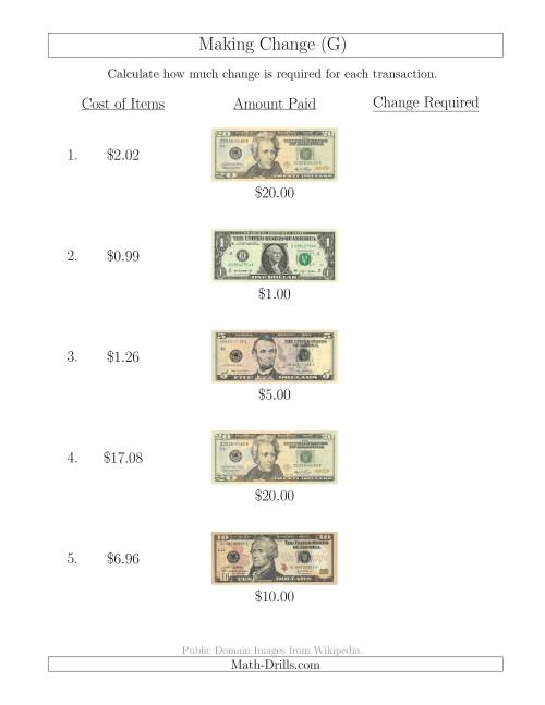 The Making Change from U.S. Bills up to $20 (G) Math Worksheet