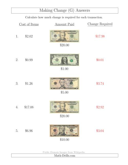 The Making Change from U.S. Bills up to $20 (G) Math Worksheet Page 2