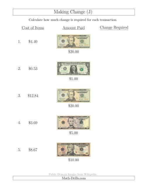 The Making Change from U.S. Bills up to $20 (J) Math Worksheet