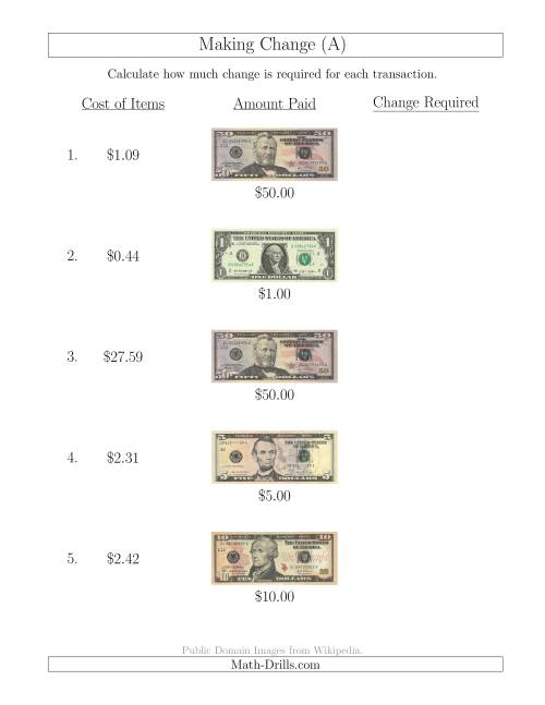 Making Change From Us Bills Up To 50 A