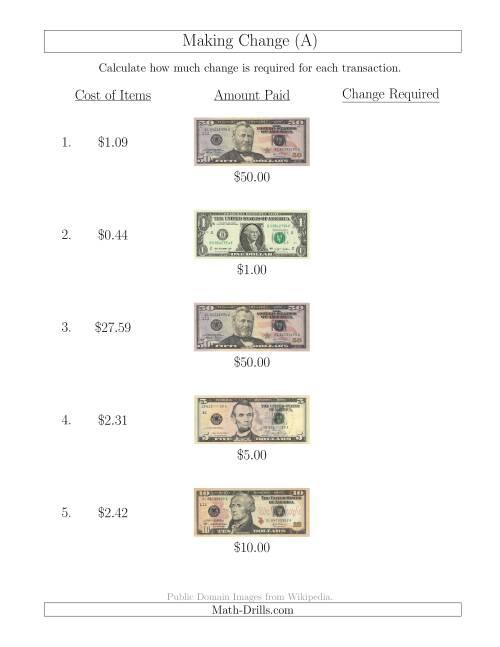 math worksheet : making change from u s bills up to $50 a money worksheet : Making Change Math Worksheets
