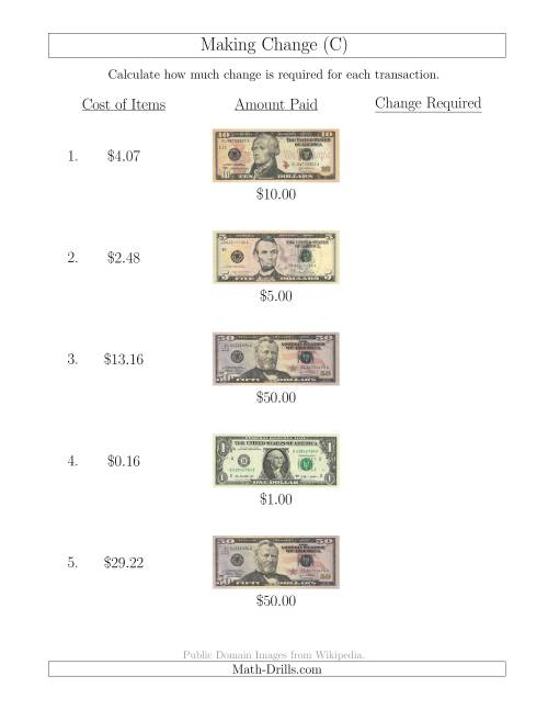 The Making Change from U.S. Bills up to $50 (C) Math Worksheet