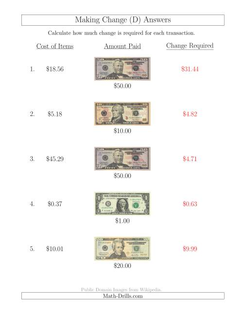 The Making Change from U.S. Bills up to $50 (D) Math Worksheet Page 2