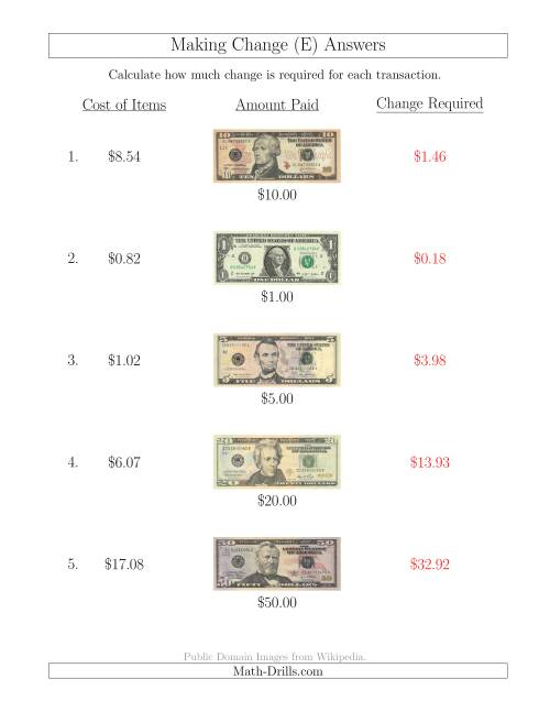 The Making Change from U.S. Bills up to $50 (E) Math Worksheet Page 2