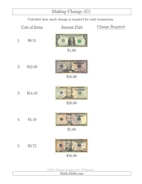 The Making Change from U.S. Bills up to $50 (G) Math Worksheet