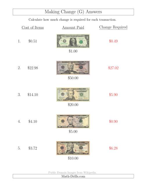 The Making Change from U.S. Bills up to $50 (G) Math Worksheet Page 2
