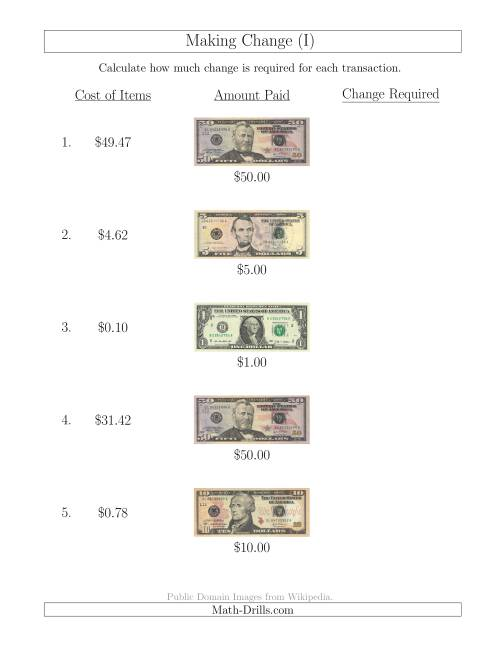 The Making Change from U.S. Bills up to $50 (I) Math Worksheet