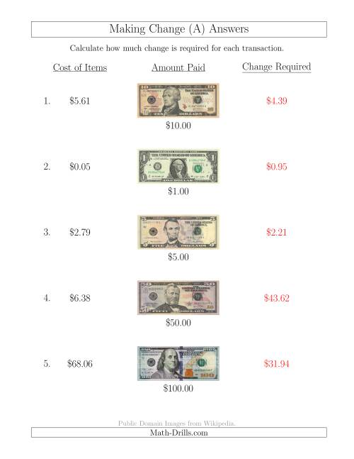The Making Change from U.S. Bills up to $100 (A) Math Worksheet Page 2