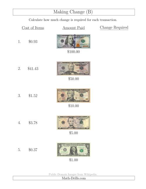 The Making Change from U.S. Bills up to $100 (B) Math Worksheet