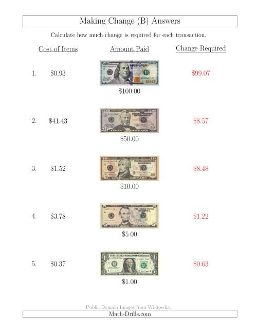 The Making Change from U.S. Bills up to $100 (B) Math Worksheet Page 2