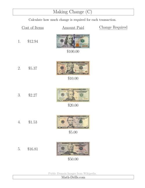 The Making Change from U.S. Bills up to $100 (C) Math Worksheet