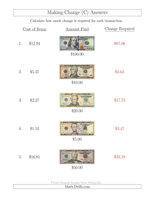 The Making Change from U.S. Bills up to $100 (C) Math Worksheet Page 2