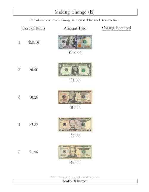 The Making Change from U.S. Bills up to $100 (E) Math Worksheet