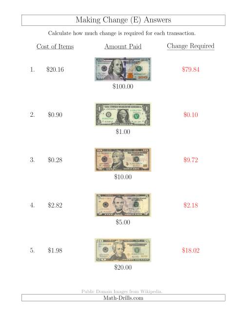 The Making Change from U.S. Bills up to $100 (E) Math Worksheet Page 2