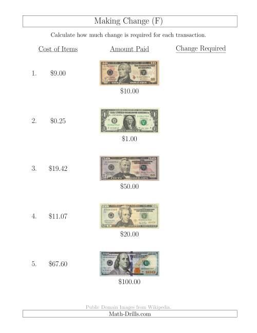 The Making Change from U.S. Bills up to $100 (F) Math Worksheet