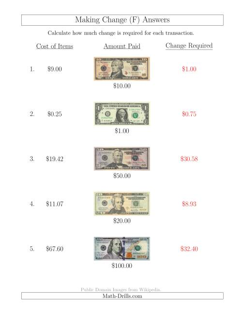 The Making Change from U.S. Bills up to $100 (F) Math Worksheet Page 2