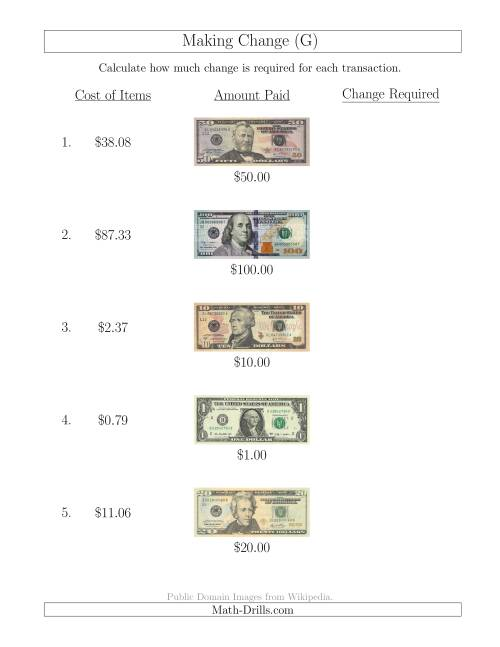 The Making Change from U.S. Bills up to $100 (G) Math Worksheet