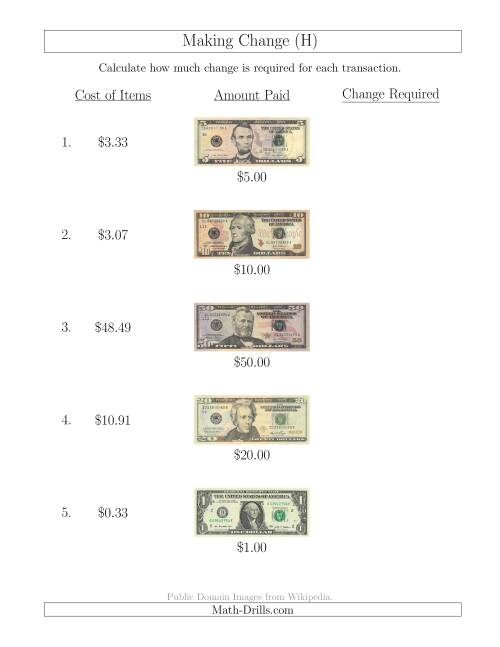 The Making Change from U.S. Bills up to $100 (H) Math Worksheet