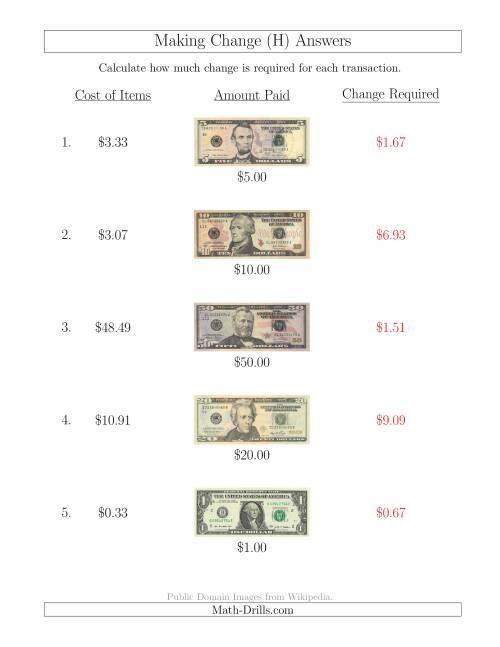 The Making Change from U.S. Bills up to $100 (H) Math Worksheet Page 2