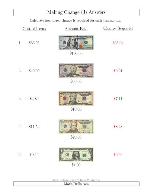 The Making Change from U.S. Bills up to $100 (J) Math Worksheet Page 2
