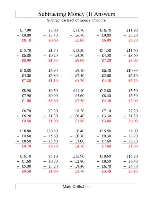 The Subtracting British Money to £10 -- Increments of 10 Pence (I) Math Worksheet Page 2