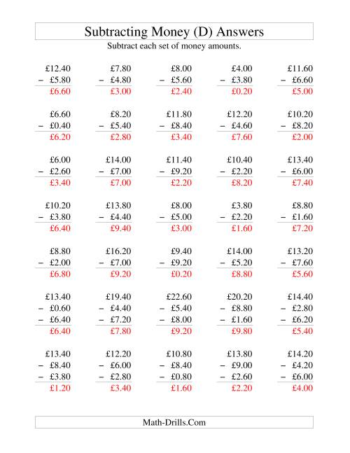 The Subtracting British Money to £10 -- Increments of 20 Pence (D) Math Worksheet Page 2