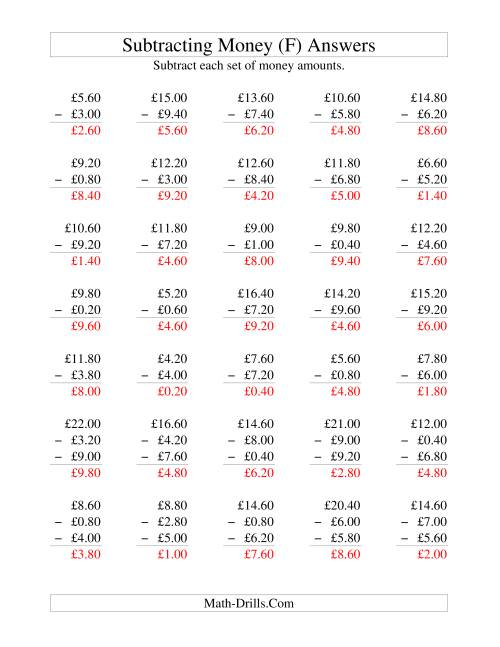 The Subtracting British Money to £10 -- Increments of 20 Pence (F) Math Worksheet Page 2