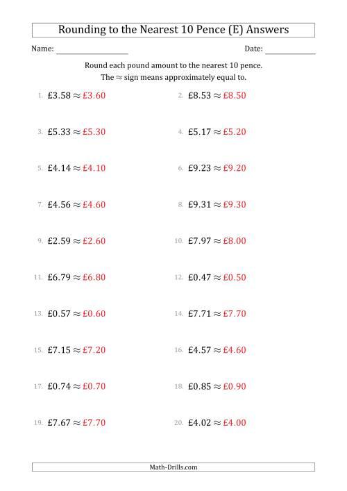 Rounding pound amounts to the nearest 10 pence (E)