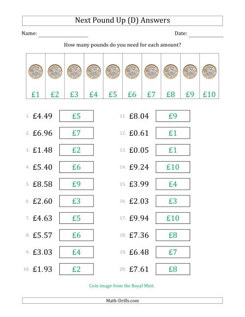 The Next Pound Up Strategy with Amounts to £10 (U.K.) (D) Math Worksheet Page 2